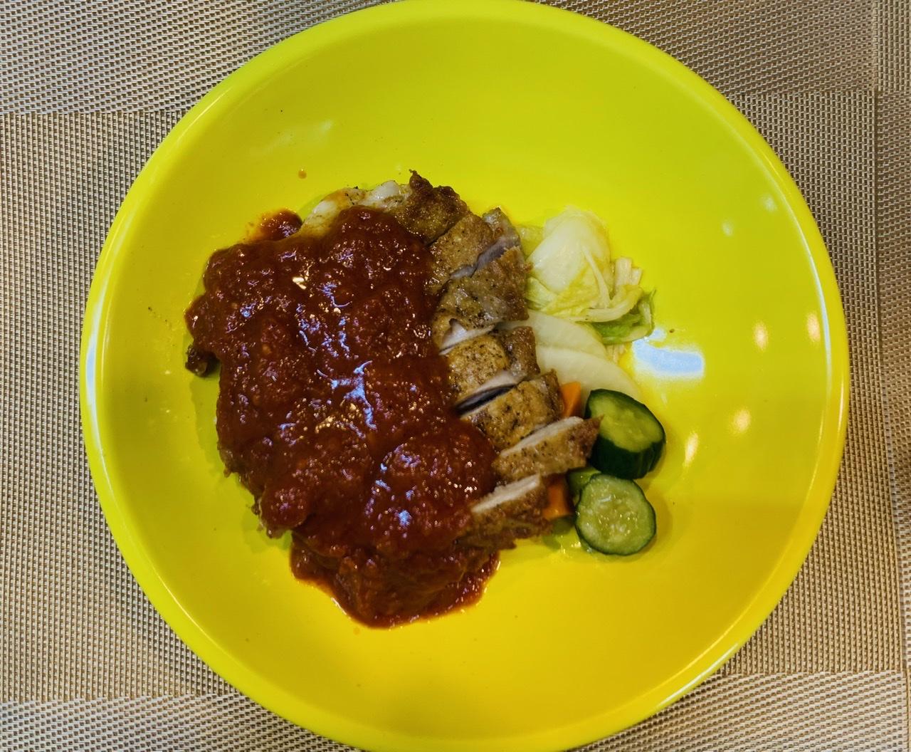 鶏肉のカリカリローストチリトマトソース